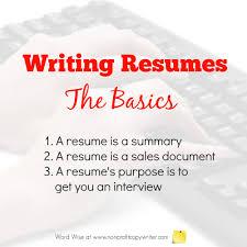 Basics About Writing Resumes