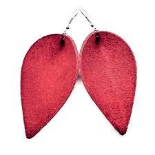 leather earrings red suede zia magnolia leaf folded leaf leather earrings handmade