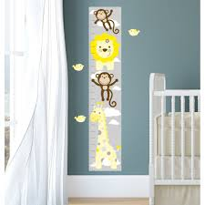jungle animal kids growth chart yellow grey