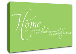 text es home family friends lime green canvas art