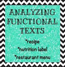 yzing funcitonal texts reading a recipe nutrition label and menu