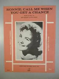 Details About Ronnie Call Me When You Get A Chance Sheet Music Shelly Fabares 1963 Pop 72