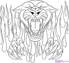 Coloring Drawing Flames Coloring Pages Panthers