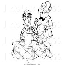 Small Picture Coloring Page of a Black and White Coloring Page Sketched Waiter