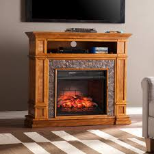 faux stone infrared media electric fireplace tv stand in sienna