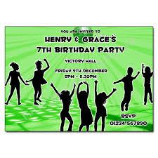 Childrens Disco Invitations Green Disco Invitation