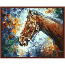 frameless diy oil painting by numbers abstract horse head diy canvas oil painting home decor for