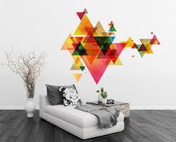 geometric triangles vinyl decal wall art mid century modern on wall art vinyl decals with geometric triangles vinyl decal wall art mid century modern