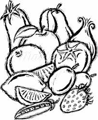 fruit and vegetables black and white. In Fruit And Vegetables Black White