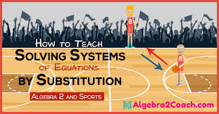 solving systems of equations by substitution sports and algebra 2 algebra2coach com
