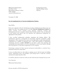 Cover Letter For System Administrator Position Juzdeco Com