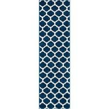 mystic zoe blue 2 ft x 7 ft modern trellis runner rug