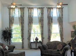 3 Window Living Room Curtain Ideas Curtain Rods And Window Curtains