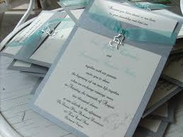 Beautiful Silver And Aqua Handmade Wedding Invitations With Double