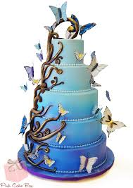 Ombré Enchanted Butterfly Wedding Cake