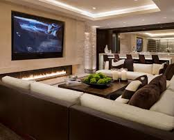 modern family room with cream wall paint and big living room furniture living room