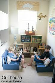 easy to make diy kids bedroom reading nook low cost crate bookshelf simple