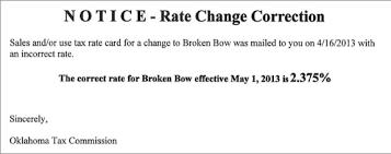 New Sales Tax Rate For Broken Bow Oklahoma Avalara