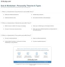 personality theories quiz worksheet personality theories types study com