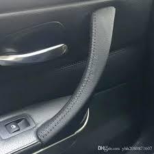 car door handle raw leather car inner door handle cover 3 car armrest for series 3 car door