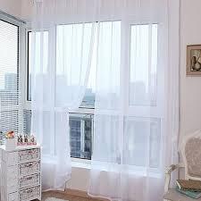 Reine Farbe Tüll Tür Fenster Vorhang Drapieren Panel Sheer Schal