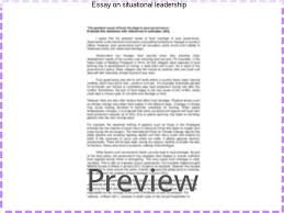 "essay on situational leadership homework academic service essay on situational leadership introduction ""the term leadership is a word taken from the"