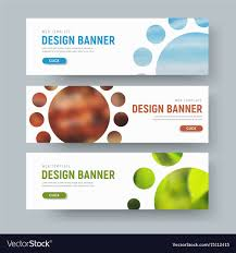 Web Banner Design Examples Set Of White Horizontal Web Banners With Round