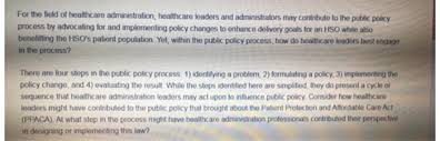 What Do Healthcare Administrators Do How Could A Healthcare Leader Influence Public Pol