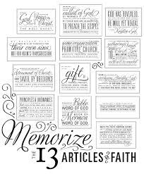 13 Articles Of Faith Free Printable Also Links To A Great