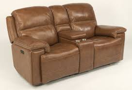 fenwick power reclining loveseat with console and power tilt headrest in caramel genuine leather