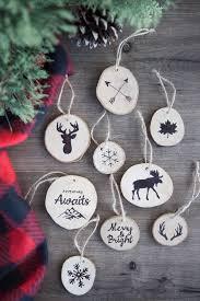 faux wood burned tree ornaments