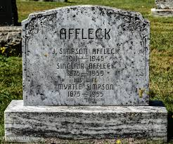 Ancestral Trails Genealogy ~ Life in the Past Lane - Tombstone, Sinclair H.  Affleck (1875-1959), his wife Myrtle Simpson (1875-1955), their son J.  Simpson Affleck (1911-1945). United-Baptist Cemetery, Central Bedeque,  Prince County,
