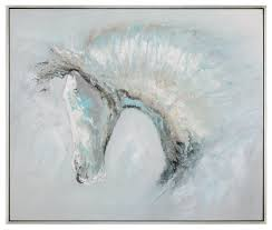 oversize 61 modern abstract horse painting white blue silver wall art contemporary paintings by my sy home