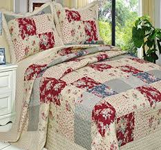French Country Floral Patchwork Microfiber Light weight Quilt ... & French Country Floral Patchwork Double Full Queen Microfiber Lightweight  Reversible Wrinkle Free Quilt Coverlet Bedding Set Oversized Adamdwight.com