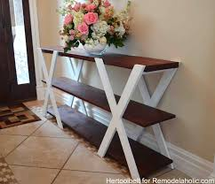 An easy build, DIY Double X console table for your entryway. Build for less