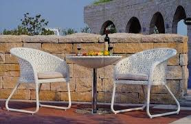 white indoor outdoor patio furniture patio table and chairs set for conversation