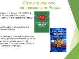 Презентация по обществознанию на тему Пенсионное законодательство  Основы пенсионного законодательства России Федеральный закон от 17 декабря 20