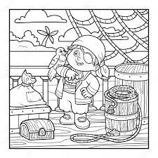 Libro Da Colorare Per I Bambini Pirata Sul Ponte Di Una Nave