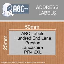 silver address label silver address labels 50mm x 25mm abc labels uk distributor