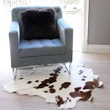 white and brown spotted calf cowhide skin floor rug eluxury home australia