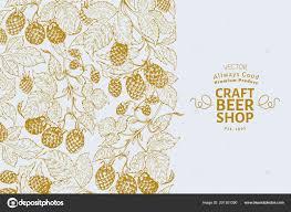 Hop Design Shop Beer Hop Design Template Retro Beer Background Vector Hand