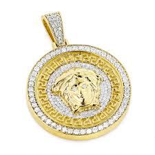 unique versace style diamond pendant medusa head medallion 10 gold main image