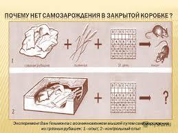 Презентация на тему Подготовил ученик класса Демьяновской ОШ  5 Эксперимент Ван Гельмонта с возникновением мышей путем самозарождения из грязных рубашек 1 опыт 2 контрольный опыт