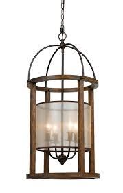 bronze iron wood sheer chandelier 6 wx33 h