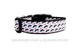 Patterned Dog Collars Inspiration Moustache Print Dog Collar = AWESOME ZigZag Wags