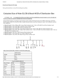 Mcb Size Chart Pdf Calculate Size Of Main Elcb Brach Mcb Of Distribution