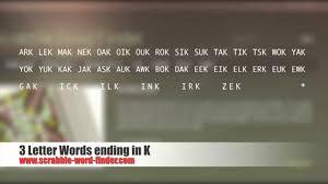3 letter words ending in k