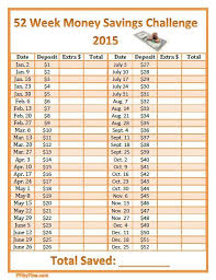 52 Week Money Chart 52 Week Money Savings Challenge 2015 Printable Chart I Have