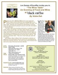 the wine table an evening of food and wine at black coffee november 1 2018 7 9 pm