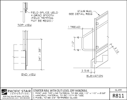 r811 glass rail starter rail with out level off handrail